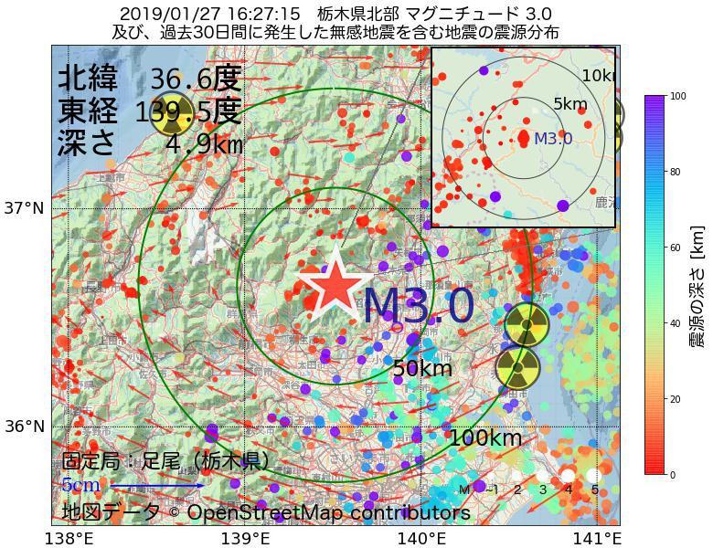 地震震源マップ:2019年01月27日 16時27分 栃木県北部でM3.0の地震