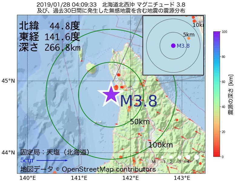 地震震源マップ:2019年01月28日 04時09分 北海道北西沖でM3.8の地震