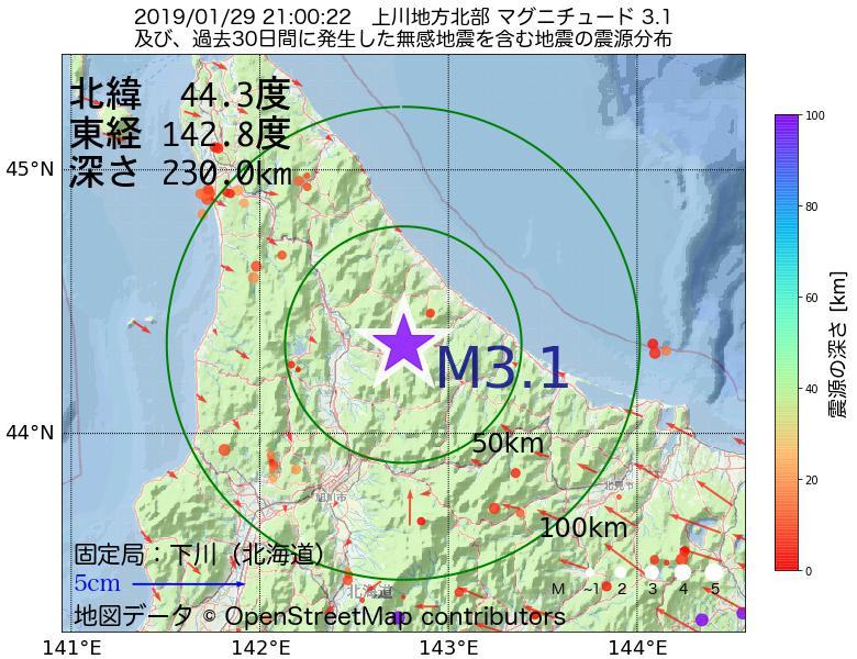 地震震源マップ:2019年01月29日 21時00分 上川地方北部でM3.1の地震