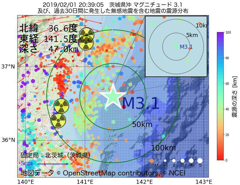 地震震源マップ:2019年02月01日 20時39分 茨城県沖でM3.1の地震