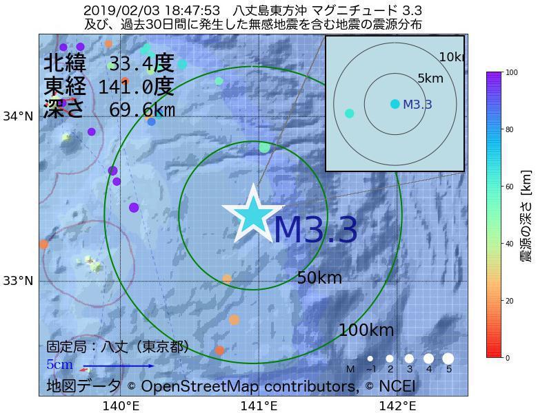 地震震源マップ:2019年02月03日 18時47分 八丈島東方沖でM3.3の地震