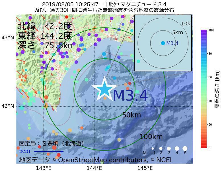 地震震源マップ:2019年02月05日 10時25分 十勝沖でM3.4の地震