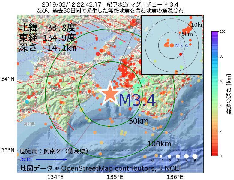 地震震源マップ:2019年02月12日 22時42分 紀伊水道でM3.4の地震