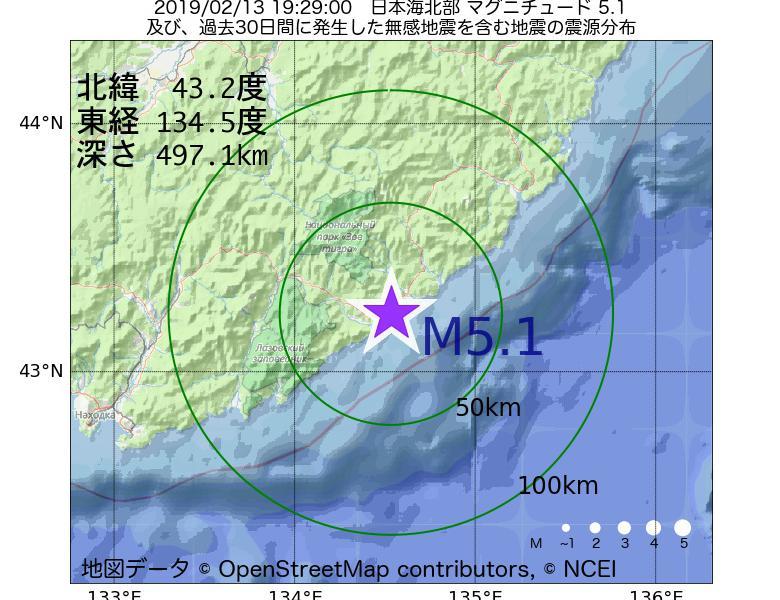 地震震源マップ:2019年02月13日 19時29分 日本海北部でM5.1の地震