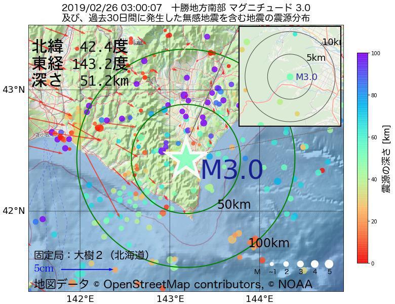 地震震源マップ:2019年02月26日 03時00分 十勝地方南部でM3.0の地震
