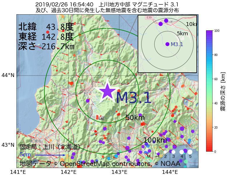 地震震源マップ:2019年02月26日 16時54分 上川地方中部でM3.1の地震