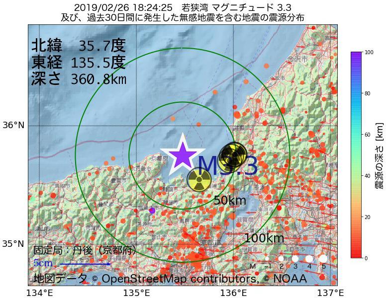 地震震源マップ:2019年02月26日 18時24分 若狭湾でM3.3の地震