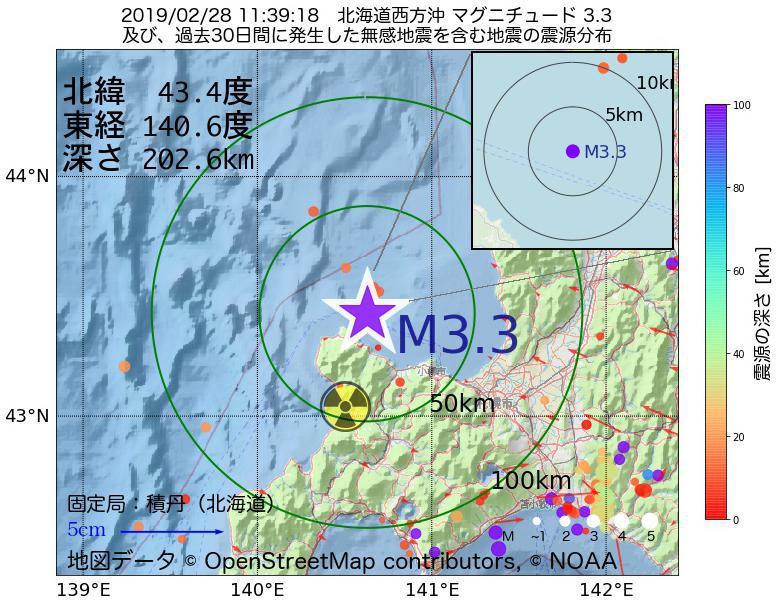 地震震源マップ:2019年02月28日 11時39分 北海道西方沖でM3.3の地震