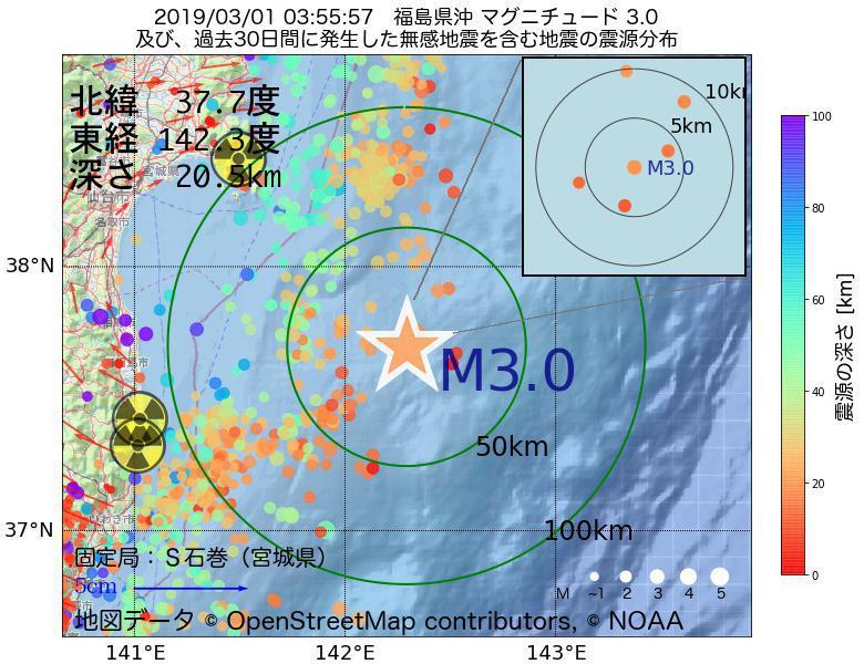 地震震源マップ:2019年03月01日 03時55分 福島県沖でM3.0の地震