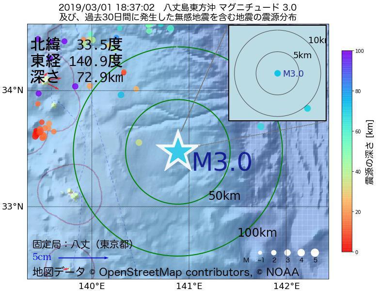 地震震源マップ:2019年03月01日 18時37分 八丈島東方沖でM3.0の地震