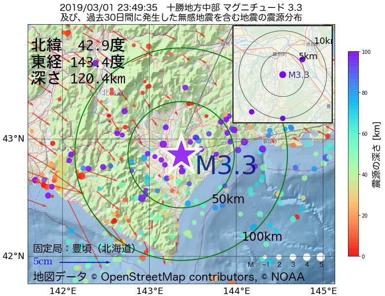 地震震源マップ:2019年03月01日 23時49分 十勝地方中部でM3.3の地震
