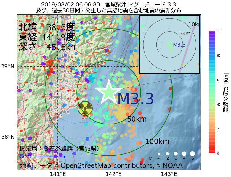 地震震源マップ:2019年03月02日 06時06分 宮城県沖でM3.3の地震