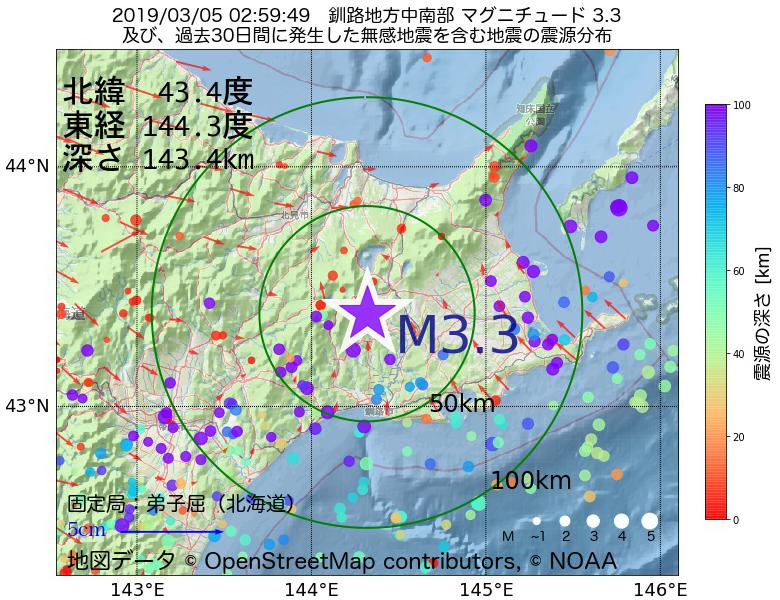 地震震源マップ:2019年03月05日 02時59分 釧路地方中南部でM3.3の地震