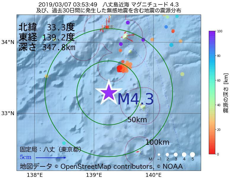 地震震源マップ:2019年03月07日 03時53分 八丈島近海でM4.3の地震