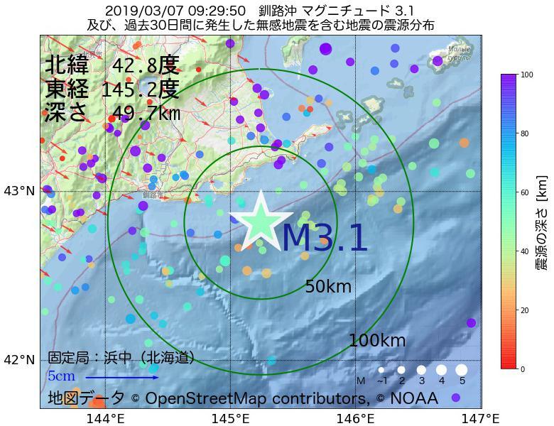 地震震源マップ:2019年03月07日 09時29分 釧路沖でM3.1の地震