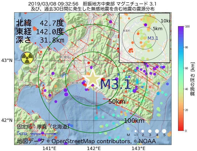 地震震源マップ:2019年03月08日 09時32分 胆振地方中東部でM3.1の地震