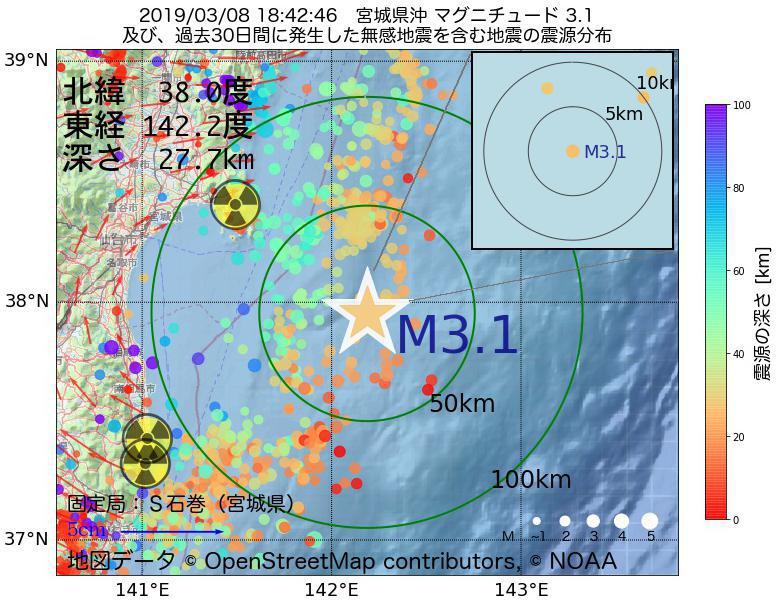 地震震源マップ:2019年03月08日 18時42分 宮城県沖でM3.1の地震