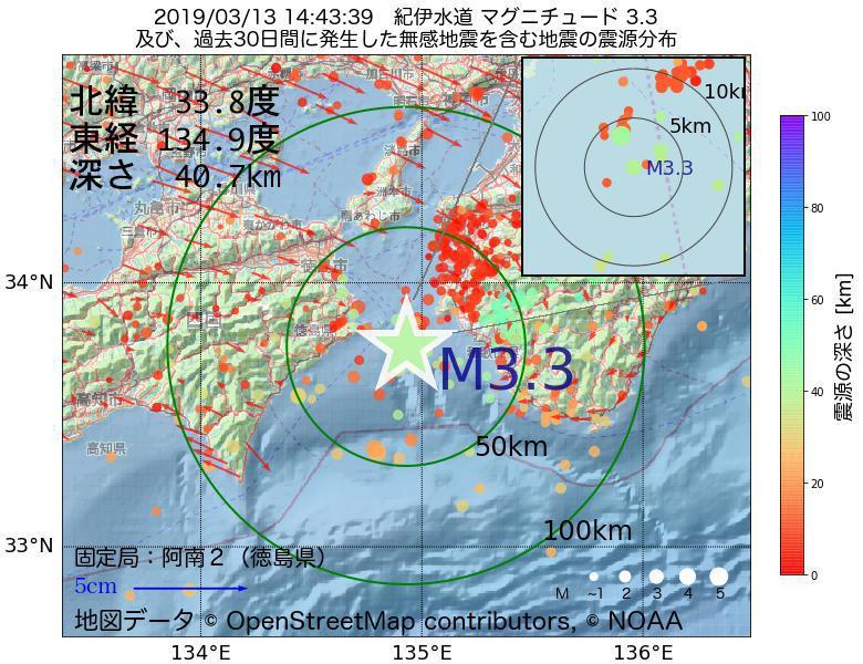 地震震源マップ:2019年03月13日 14時43分 紀伊水道でM3.3の地震