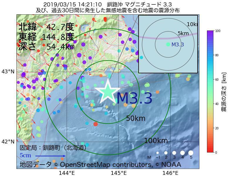 地震震源マップ:2019年03月15日 14時21分 釧路沖でM3.3の地震