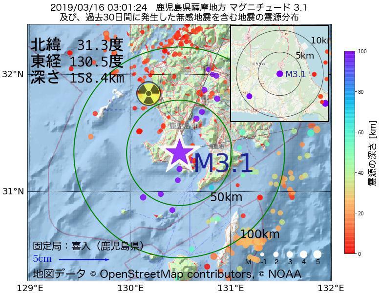 地震震源マップ:2019年03月16日 03時01分 鹿児島県薩摩地方でM3.1の地震