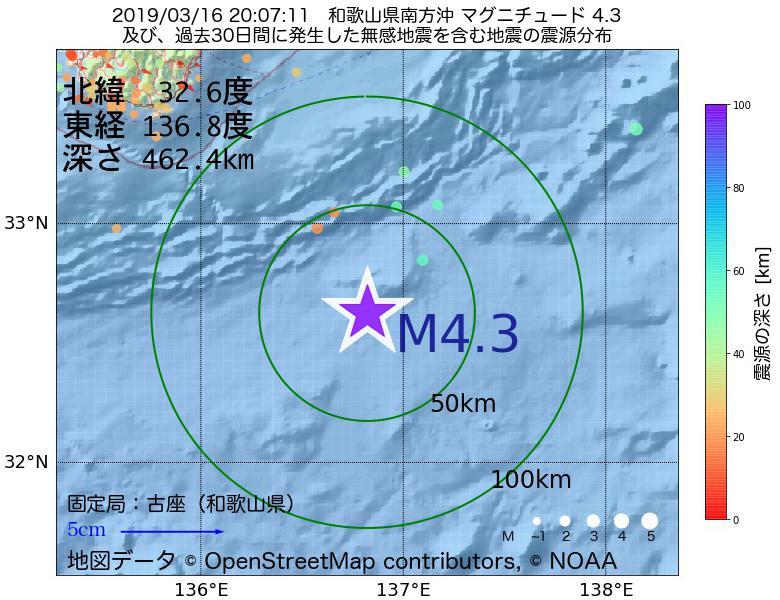 地震震源マップ:2019年03月16日 20時07分 和歌山県南方沖でM4.3の地震