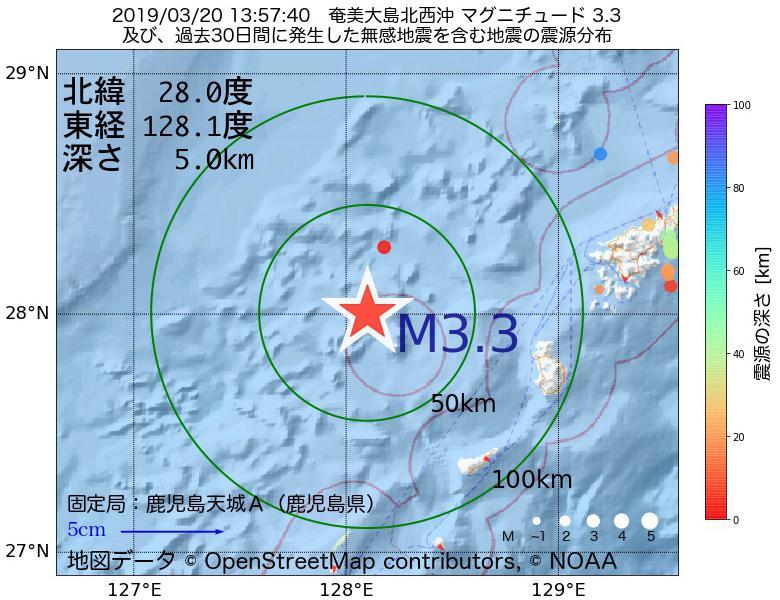 地震震源マップ:2019年03月20日 13時57分 奄美大島北西沖でM3.3の地震