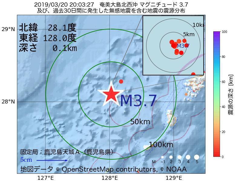 地震震源マップ:2019年03月20日 20時03分 奄美大島北西沖でM3.7の地震