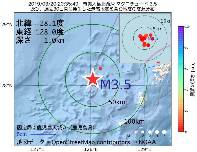 地震震源マップ:2019年03月20日 20時35分 奄美大島北西沖でM3.5の地震