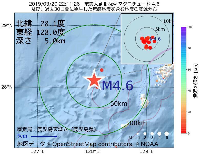 地震震源マップ:2019年03月20日 22時11分 奄美大島北西沖でM4.6の地震