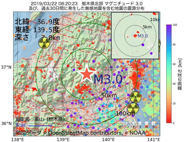 地震震源マップ:2019年03月22日 08時20分 栃木県北部でM3.0の地震