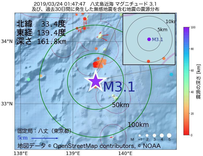 地震震源マップ:2019年03月24日 01時47分 八丈島近海でM3.1の地震
