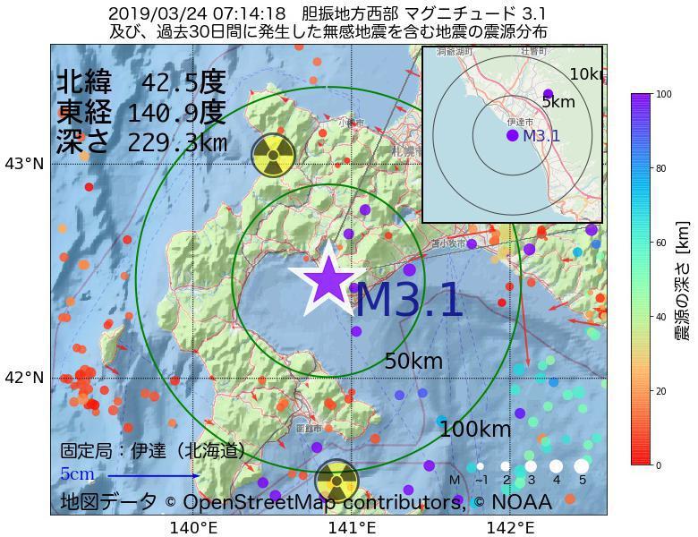 地震震源マップ:2019年03月24日 07時14分 胆振地方西部でM3.1の地震