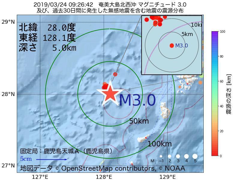 地震震源マップ:2019年03月24日 09時26分 奄美大島北西沖でM3.0の地震
