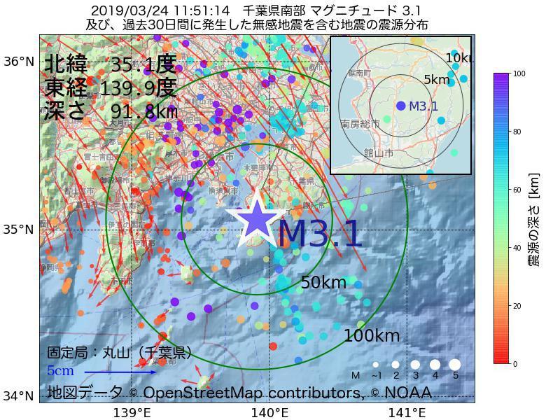 地震震源マップ:2019年03月24日 11時51分 千葉県南部でM3.1の地震