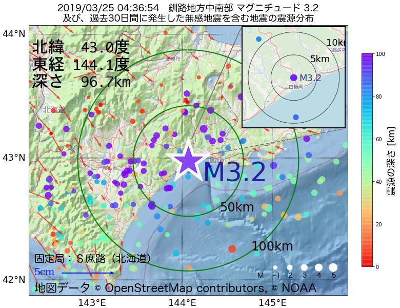 地震震源マップ:2019年03月25日 04時36分 釧路地方中南部でM3.2の地震