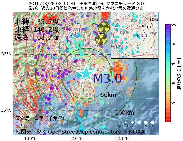 地震震源マップ:2019年03月26日 02時19分 千葉県北西部でM3.0の地震