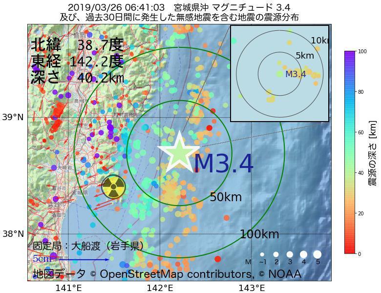 地震震源マップ:2019年03月26日 06時41分 宮城県沖でM3.4の地震