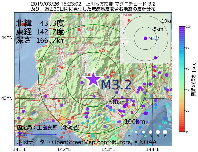地震震源マップ:2019年03月26日 15時23分 上川地方南部でM3.2の地震