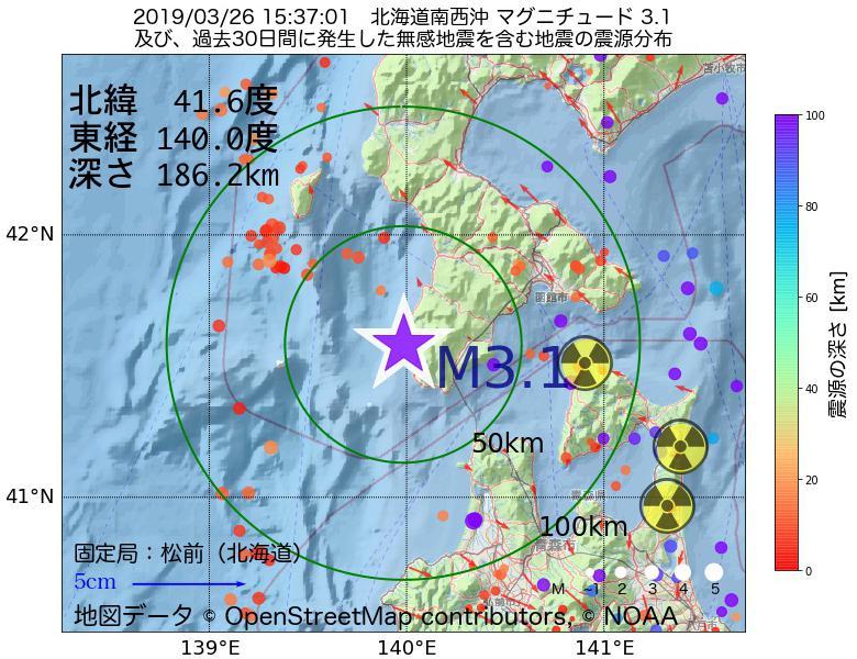 地震震源マップ:2019年03月26日 15時37分 北海道南西沖でM3.1の地震