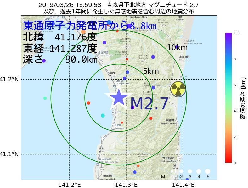 地震震源マップ:東通原子力発電所から8.8km地点でM2.7の地震が発生しました