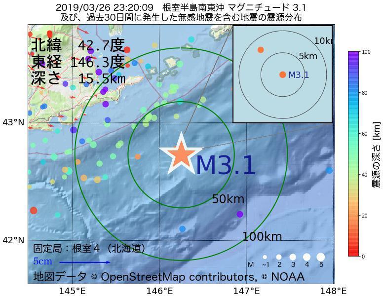 地震震源マップ:2019年03月26日 23時20分 根室半島南東沖でM3.1の地震