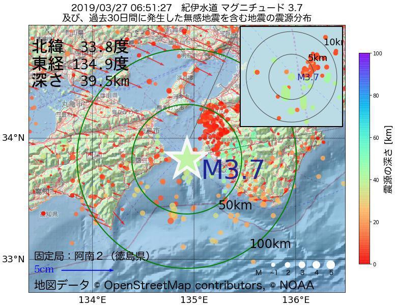 地震震源マップ:2019年03月27日 06時51分 紀伊水道でM3.7の地震