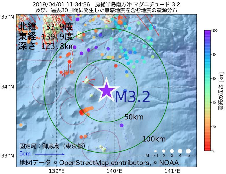 地震震源マップ:2019年04月01日 11時34分 房総半島南方沖でM3.2の地震