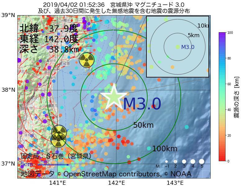 地震震源マップ:2019年04月02日 01時52分 宮城県沖でM3.0の地震