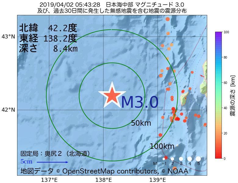 地震震源マップ:2019年04月02日 05時43分 日本海中部でM3.0の地震