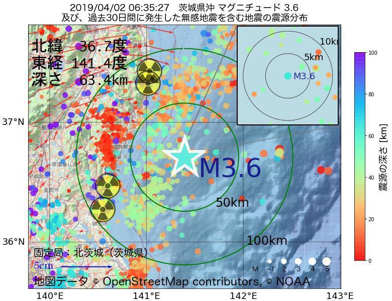地震震源マップ:2019年04月02日 06時35分 茨城県沖でM3.6の地震