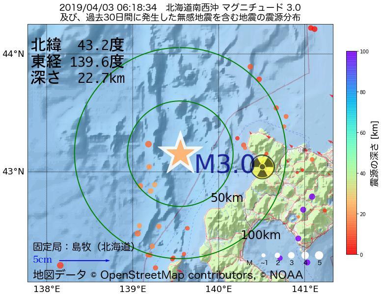 地震震源マップ:2019年04月03日 06時18分 北海道南西沖でM3.0の地震