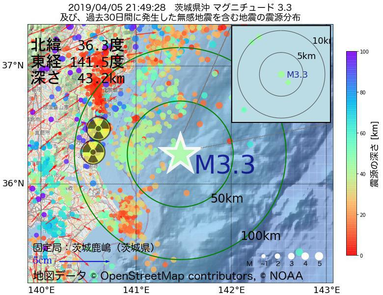 地震震源マップ:2019年04月05日 21時49分 茨城県沖でM3.3の地震