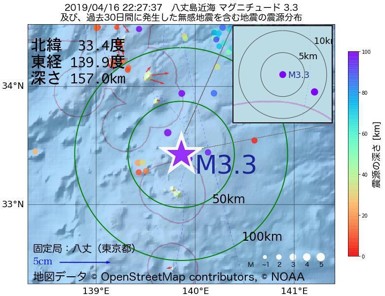地震震源マップ:2019年04月16日 22時27分 八丈島近海でM3.3の地震