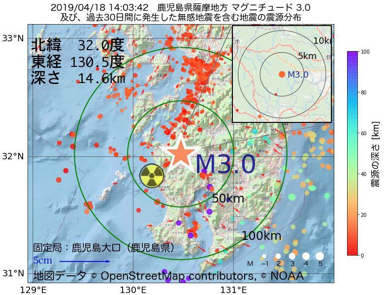 地震震源マップ:2019年04月18日 14時03分 鹿児島県薩摩地方でM3.0の地震